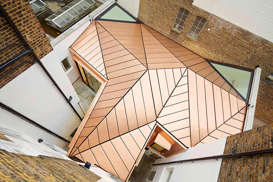 showcasing copper roof style